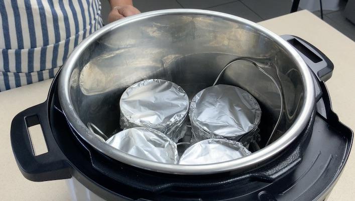 aluminum foil on ramekins for cream brulee
