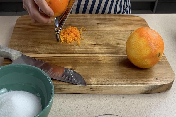 zesting blood orange for creme brule