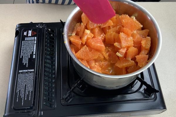 making orange compote for cream brulee