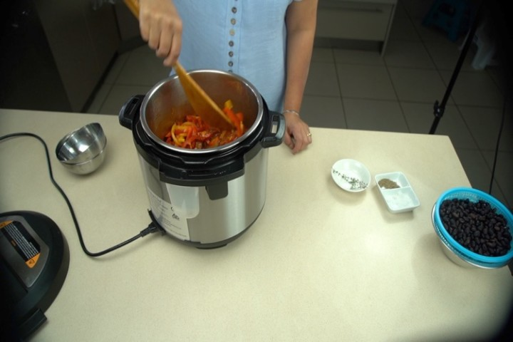 add the bell peppers to instant pot