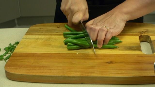 Slice green beans