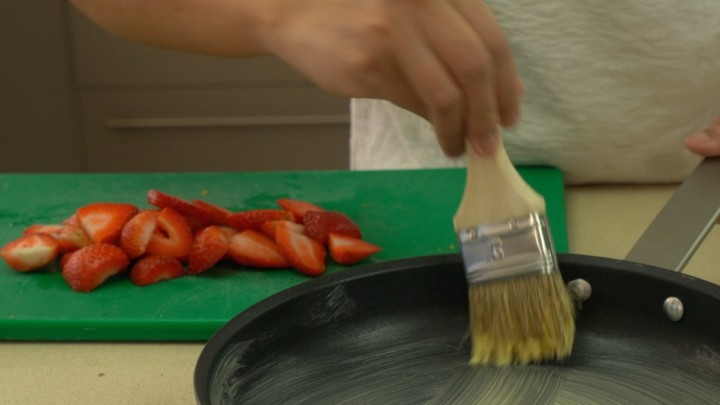 Slice Strawberries and Butter The Pan