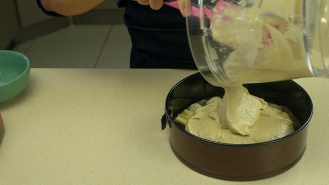 Put The Banana Cake Mix In the Baking Tin