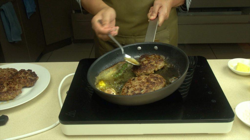 Basting Salisbury Beef Patty For Flavor
