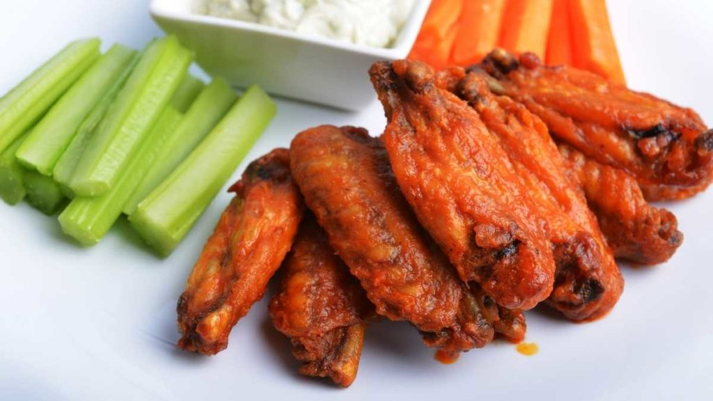 Chicken wing for 10 people with veges