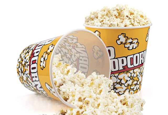 The size of a medium popcorn basket is 7 inches at the top, 7 inches high